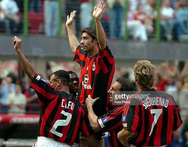 Manuel Rui Costa of Milan celebrates scoring during the Serie A match between AC Milan and Brescia at the Stadio Giuseppe Meazza on May 16 2004 in...