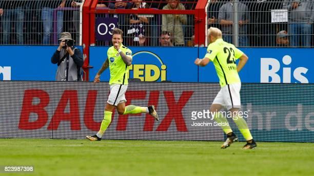 Manuel Schaeffler and Alf Mintzel of Wehen Wiesbaden celebration the goal 01 for Wehen Wiesbaden during the 3 Liga match between VfL Osnabrueck and...