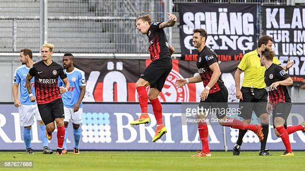Manuel Schaeffler of Wiesbaden celebrates the first goal for his team during the Third League match between SV Wehen Wiesbaden and Fortuna Koeln at...