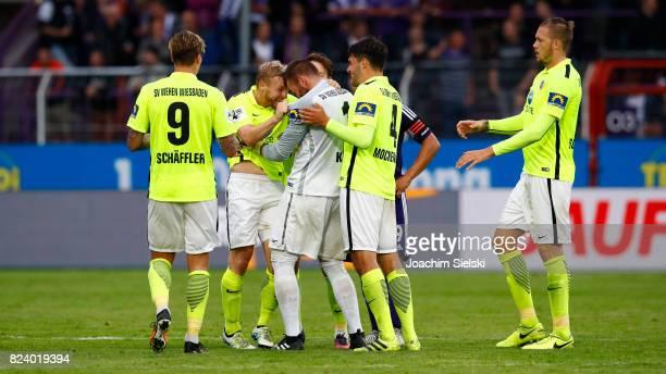 Manuel Schaeffler Patrick Funk Markus Kolke and Sascha Mockenhaupt of Wehen Wiesbaden celebration the goal 03 for Wehen Wiesbaden during the 3 Liga...