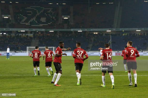 Manuel Schmiedebach Marvin Bakalorz Salif Sane Noah Joel Sarenren Bazee Martin Harnik and Artur Sobiech of Hannover celebration his Goal 21 during...