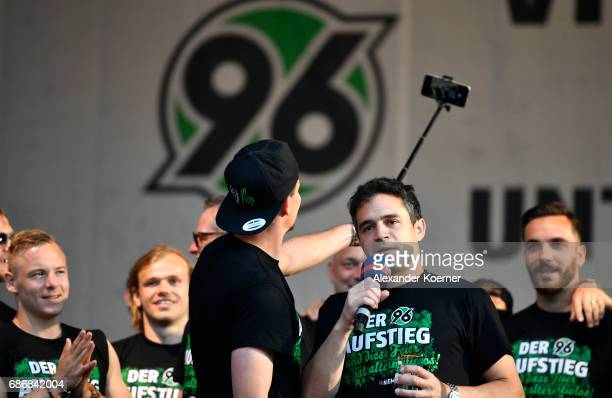 Manuel Schmiedebach of German club Hannover 96 celebrates its promotion to 1 Bundesliga at Neues Rathaus on May 22 2017 in Hanover Germany Hannover...