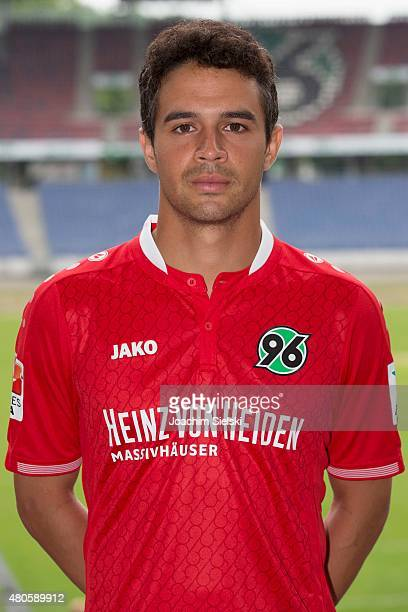 Manuel Schmiedebach poses during the team presentation of Hannover 96 at HDIArena on July 13 2015 in Hanover Germany