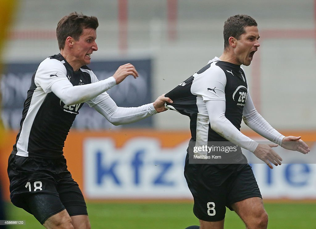 Manuel Stiefel of Zwickau jubilates after scoring the sixt goal after penalty during the Regionalliga Nordost match between 1FC Union Berlin II and...