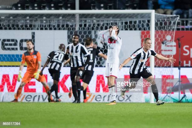 Manuel Stiefler of Sandhausen celebrates his team's first goal during the Second Bundesliga match between SV Sandhausen and FC St Pauli at BWTStadion...