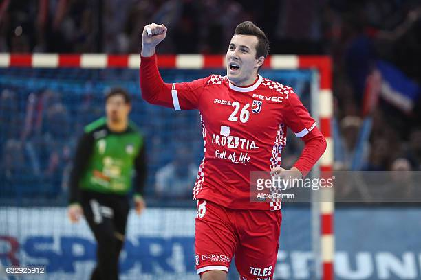 Manuel Strlek of Croatia celebrates a goal during the 25th IHF Men's World Championship 2017 Bronze Medal Game between Slovenia and Croatia at...