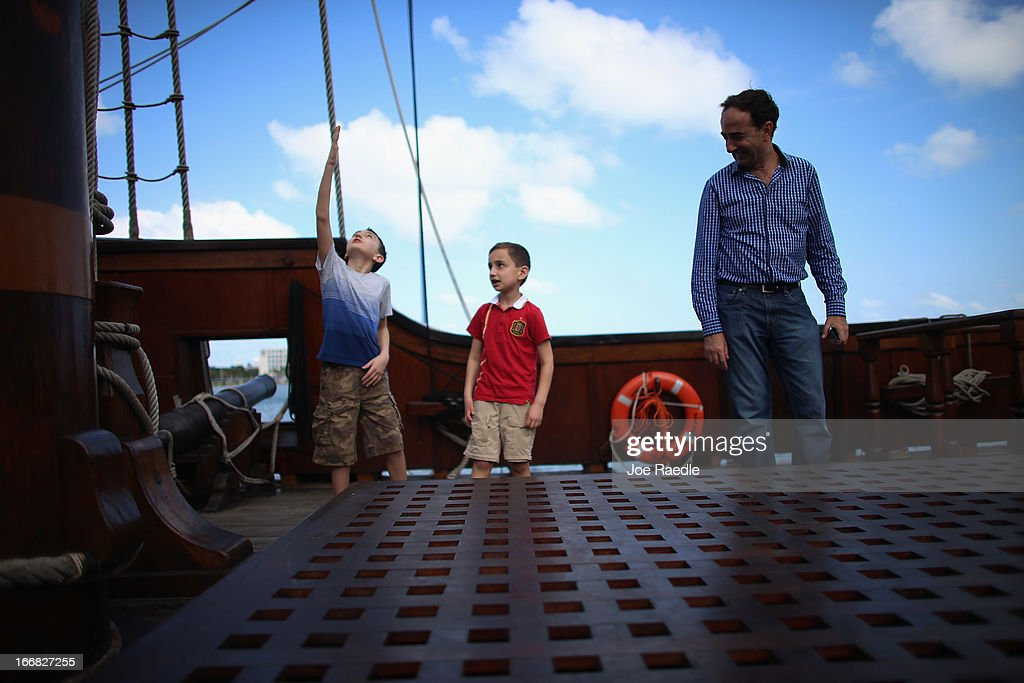 Manuel Tabares, Alex Tabares and their father Manuel Tabares explore El Galeón, a replica of a 16th century galleon, during Florida's commemoration of the 500th anniversary of Spanish explorer Juan Ponce de Leon's arrival on the shores of Florida on April 17, 2013 in Miami, Florida. The boat will remain in Miami until April 28, after which it continues North along Florida's east coast and stops along the way in Fort Lauderdale, Cape Canaveral, and St. Augustine.