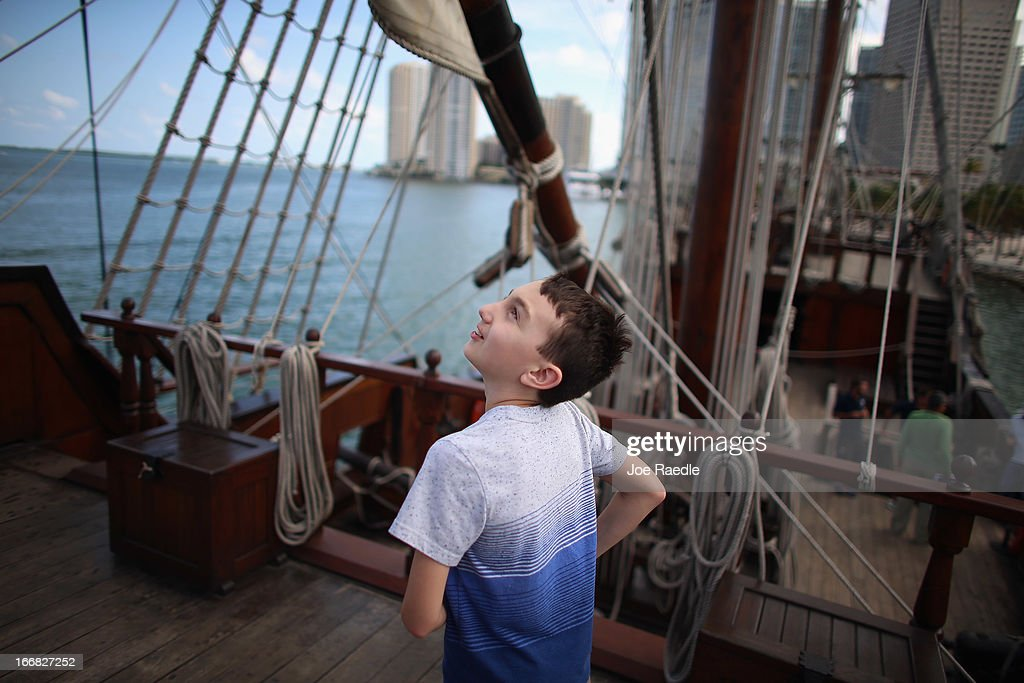 Manuel Tabares explores El Galeón, a replica of a 16th century galleon, during Florida's commemoration of the 500th anniversary of Spanish explorer Juan Ponce de Leon's arrival on the shores of Florida on April 17, 2013 in Miami, Florida. The boat will remain in Miami until April 28, after which it continues North along Florida's east coast and stops along the way in Fort Lauderdale, Cape Canaveral, and St. Augustine.