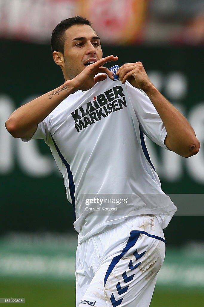 Manuel Torres of Karlsruhe celebrates the first goal during the the Second Bundesliga match between 1 FC Kaiserslautern and Karlsruher SC at...