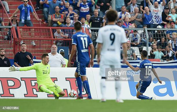 Manuel Torres of Karlsruhe scores his team's second goal during the Second Bundesliga match between Karlsruher SC and 1860 Muenchen the at Wildpark...