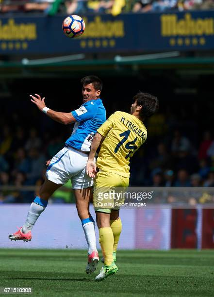 Manuel Trigueros of Villarreal competes for the ball with Gabriel Appelt Pires of Leganes during the La Liga match between Villarreal CF and CD...