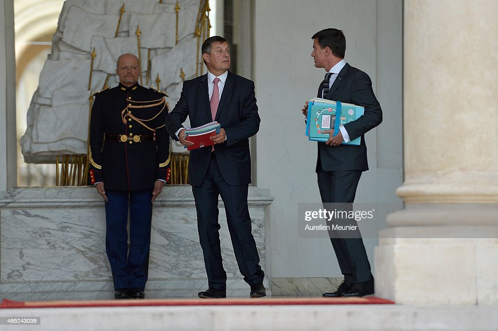 <a gi-track='captionPersonalityLinkClicked' href=/galleries/search?phrase=Manuel+Valls&family=editorial&specificpeople=2178864 ng-click='$event.stopPropagation()'>Manuel Valls</a> (R), French Prime Minister and <a gi-track='captionPersonalityLinkClicked' href=/galleries/search?phrase=Jean-Pierre+Jouyet&family=editorial&specificpeople=2521501 ng-click='$event.stopPropagation()'>Jean-Pierre Jouyet</a> (L), Chief of Staff leave the Elysee Palace after the weekly cabinet meeting on August 26, 2015 in Paris, France.