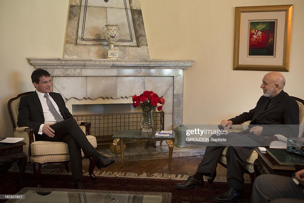 Manuel Valls, Minister of the Interior (L) meets President Afghanistan Hamid Karzai during his visit to the region on February 15, 2013 in Kaboul, Afghanistan.