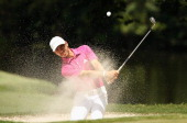 Manuel Villegas of Colombia hits a bunker shot on the seventh hole during the second round of the 2014 Brasil Champions Presented by HSBC at the Sao...