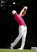 Manuel Villegas of Colombia hits his tee shot on the eighth hole during the second round of the 2014 Brasil Champions Presented by HSBC at the Sao...
