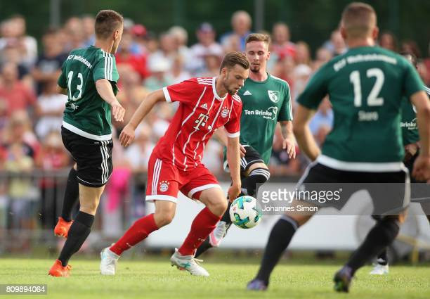 Manuel Wintzheimer of Bayern in action during the preseason friendly match between BCF Wolfratshausen and Bayern Muenchen at on July 6 2017 in...