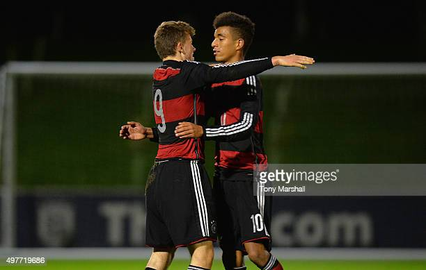 Manuel Wintzheimer of Germany celebrates scoring their fifth goal with Timothy Tillman of Germany during the U17s International Friendly match...