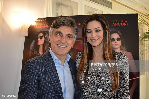 Manuela Arcuri and Vincenzo Salemme during Press Conference of Don' t steal home of thieves new Italian comedy of the director Carlo Vanzina