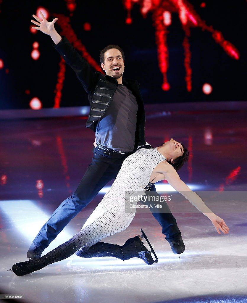 Manuela Di Centa and her skating partner Andrea Vaturi perform during the 'Notti Sul Ghiaccio' TV Show at RAI Studios on February 21 2015 in Rome...