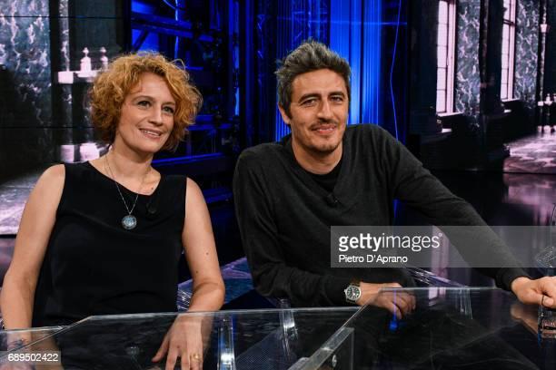 Manuela Diliberto and Pif Pierfrancesco Diliberto attends 'Che Tempo Che Fa' tv show at Rai Milan Studios on May 28 2017 in Milan Italy