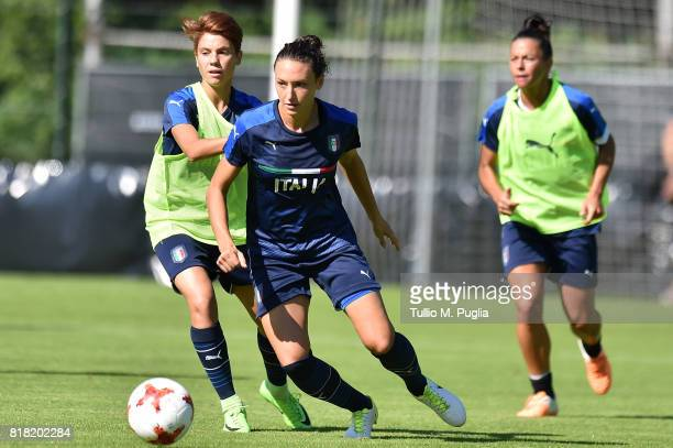 Manuela Giugliano and Ilaria Mauro of Italy women's national team takes part in a training session during the UEFA Women's EURO 2017 at De Zwervers...