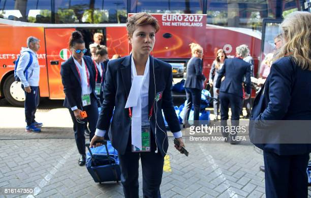 Manuela Giugliano of Italy arrives prior to the UEFA Women's EURO 2017 Group B match between Italy and Russia at Sparta Stadion on July 17 2017 in...