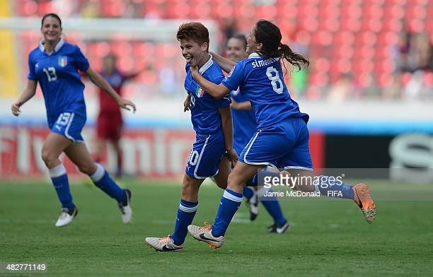 Manuela Giugliano of Italy celebrates her goal during the FIFA U17 World Cup 3rd Place Playoff game between Venezuela and Italy at Estadio Nacional...