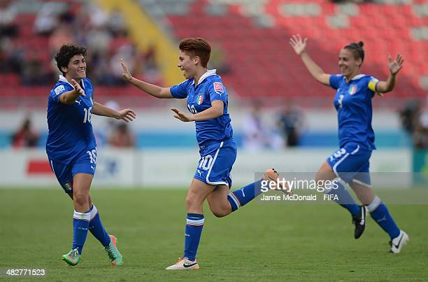 Manuela Giugliano of Italy celebrates her second goal during the FIFA U17 World Cup 3rd Place Playoff game between Venezuela and Italy at Estadio...