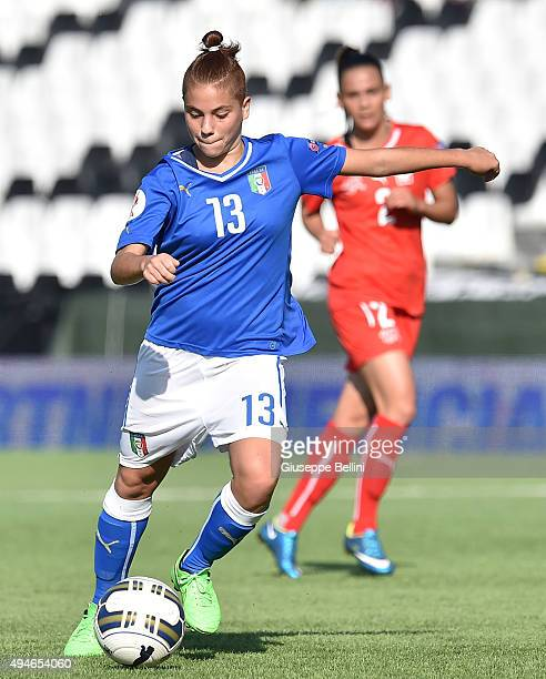 Manuela Giugliano of Italy in action during the UEFA Women's Euro 2017 Qualifier between Italy and Switzerland at Dino Manuzzi Stadium on October 24...