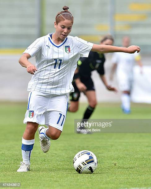 L'AQUILA ITALY MAY 19 Manuela Giugliano of Italy in action during the women's U19 match between Italy and Belgium at Stadio Tommaso Fattori on May 19...