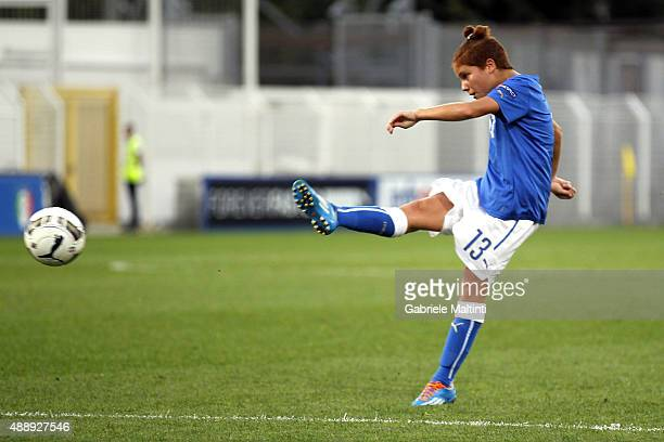 Manuela Giugliano of Italy Women's scores a goal during the UEFA Women's EURO 2017 Qualifyier between Italy and Georgia at Stadio Alberto Picco on...
