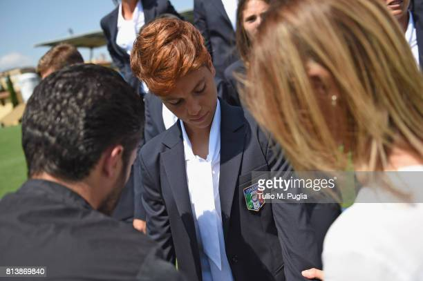 Manuela Giugliano smiles during the official photoshoot ahead of the UEFA Women UEFA Women's EURO 2017 at Coverciano on July 13 2017 in Florence Italy