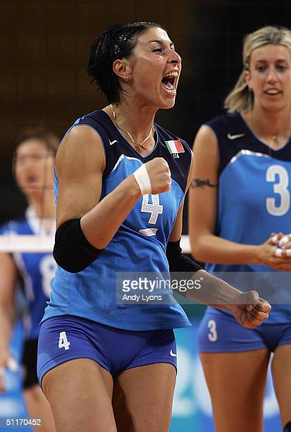 Manuela Leggeri of Italy celebrates after beating Korea in the women's indoor Volleyball preliminary match on August 14 2004 during the Athens 2004...