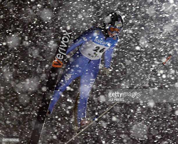 Manuela Malsiner of Italy jumps during the first round of the women's skijumping World Cup Zao meet in Yamagata prefecture on January 20 2017 / AFP /...