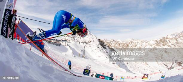 Manuela Moelgg of Italy competes duirng the women's Giant Slalom event of the FIS ski World cup in Soelden Austria on October 28 2017 Viktoria...