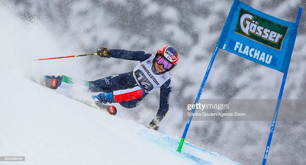 <a gi-track='captionPersonalityLinkClicked' href=/galleries/search?phrase=Manuela+Moelgg&family=editorial&specificpeople=801741 ng-click='$event.stopPropagation()'>Manuela Moelgg</a> of Italy competes during the Audi FIS Alpine Ski World Cup Women's Giant Slalom on January 17, 2016 in Flachau, Austria.
