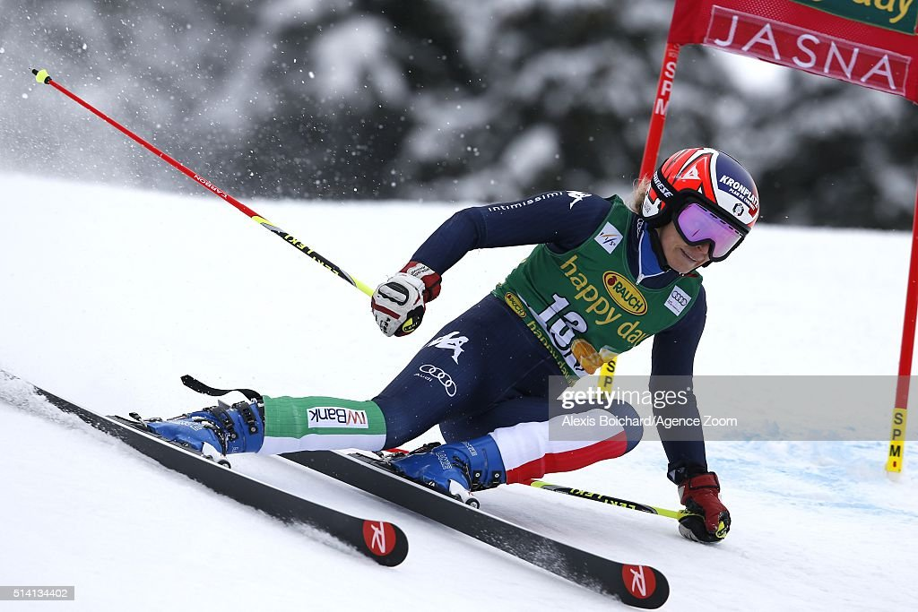 <a gi-track='captionPersonalityLinkClicked' href=/galleries/search?phrase=Manuela+Moelgg&family=editorial&specificpeople=801741 ng-click='$event.stopPropagation()'>Manuela Moelgg</a> of Italy competes during the Audi FIS Alpine Ski World Cup Women's Giant Slalom on March 07, 2016 in Jasna, Slovakia.