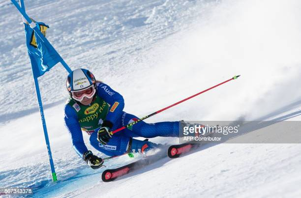 Manuela Moelgg of Italy competes during the women's Giant Slalom event of the FIS ski World cup in Soelden Austria on October 28 2017 / AFP PHOTO /...