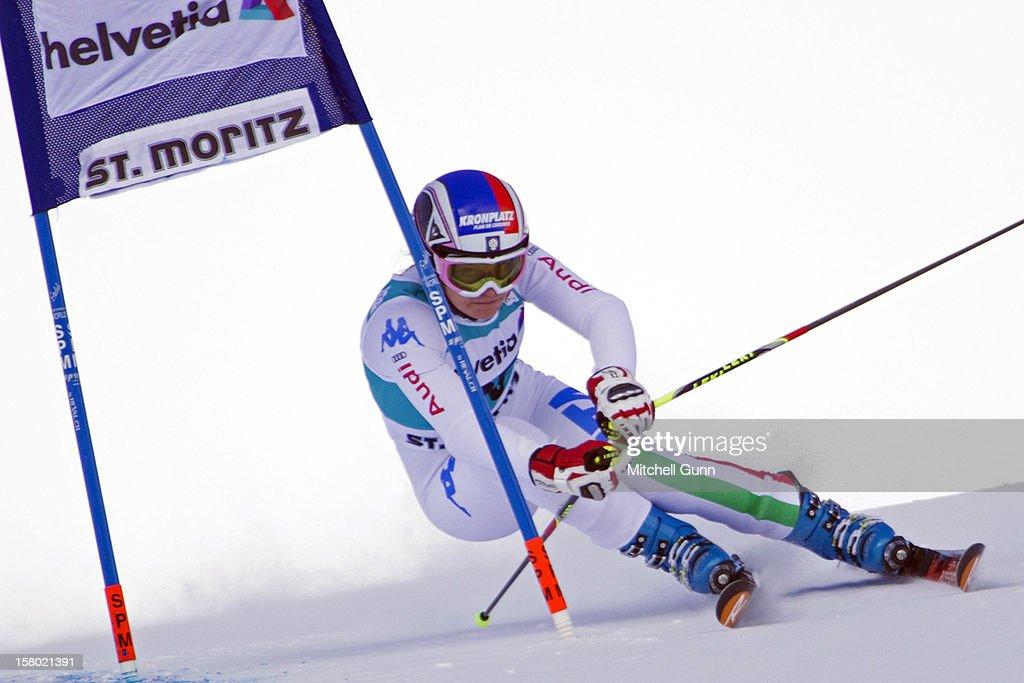 Manuela Moelgg of italy races down the piste during the Audi FIS Alpine Ski World Giant Slalom race on December 9 2012 in St Moritz, Switzerland.
