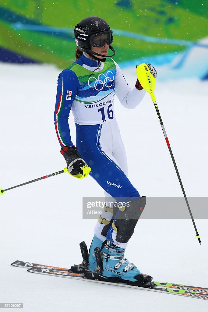 <a gi-track='captionPersonalityLinkClicked' href=/galleries/search?phrase=Manuela+Moelgg&family=editorial&specificpeople=801741 ng-click='$event.stopPropagation()'>Manuela Moelgg</a> of Italy reacts after crossing the finish line during the Ladies Slalom second run on day 15 of the Vancouver 2010 Winter Olympics at Whistler Creekside on February 26, 2010 in Whistler, Canada.