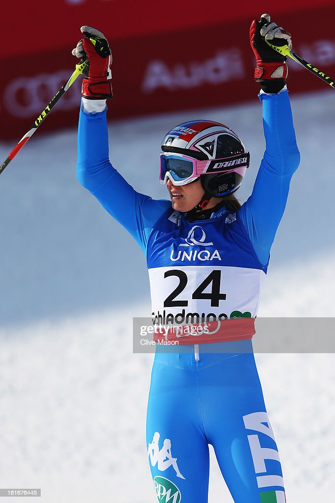 <a gi-track='captionPersonalityLinkClicked' href=/galleries/search?phrase=Manuela+Moelgg&family=editorial&specificpeople=801741 ng-click='$event.stopPropagation()'>Manuela Moelgg</a> of Italy reacts in the finish area after skiing in the Women's Giant Slalom during the Alpine FIS Ski World Championships on February 14, 2013 in Schladming, Austria.