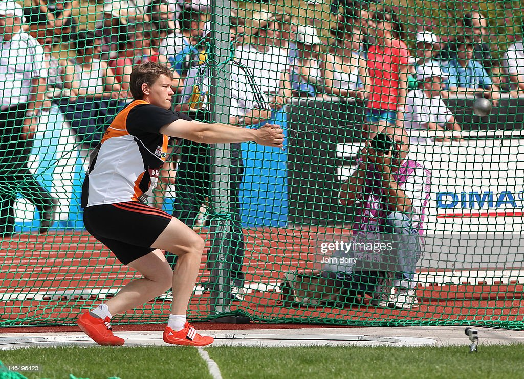 Manuela Montebrun of France competes in the hammer throw final during the 2012 French Elite Athletics Championships at the Stade du Lac de Maine on June 17, 2012 in Angers, France.