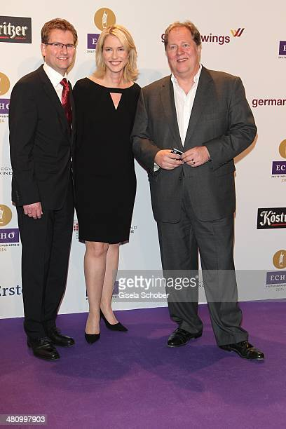Manuela Schwesig Dieter Gorny pose on the red carpet prior the Echo award 2014 at Messe Berlin on March 27 2014 in Berlin Germany