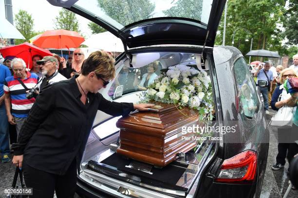 Manuela Villa leaves Paolo Limiti funeral services at the church of Santa Maria Goretti on June 28 2017 in Milan Italy Paolo Limiti was born in Milan...
