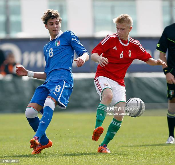 Manuele Locatelli of Italy competes for the ball with Andrass Erdei of Hungary during the international friendly match between Italy U17 and Hungary...