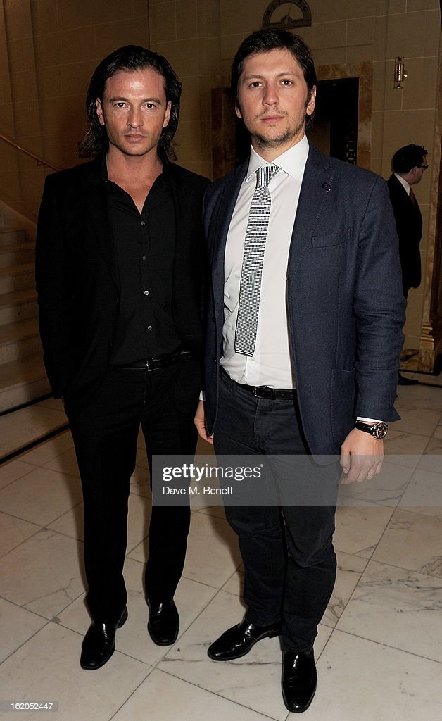 Manuele Malenotti (L) and guest attend the AnOther Magazine and Dazed & Confused party with Belvedere Vodka at the Cafe Royal hotel on February 18, 2013 in London, England.