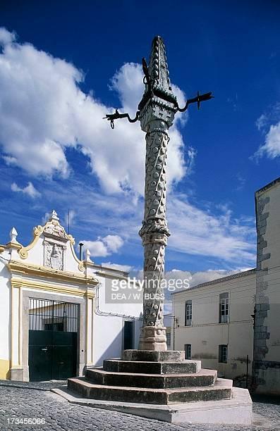 Manueline style pillory column Largo Santa Clara Pelourinho Elvas Alentejo Portugal