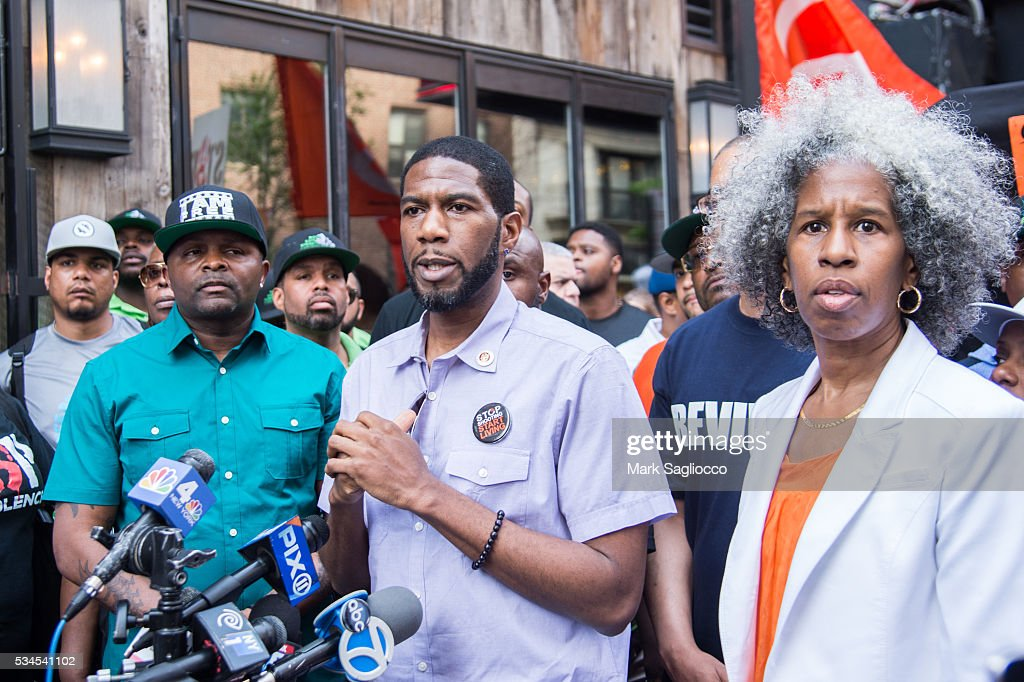 ManUP! Founder Andre T. Mitchell, New York City Council Member Jumaane Williams and LifeCamp CEO Erica Ford attend the National Anti-Violence Community Press Conference at Irving Plaza on May 26, 2016 in New York City.