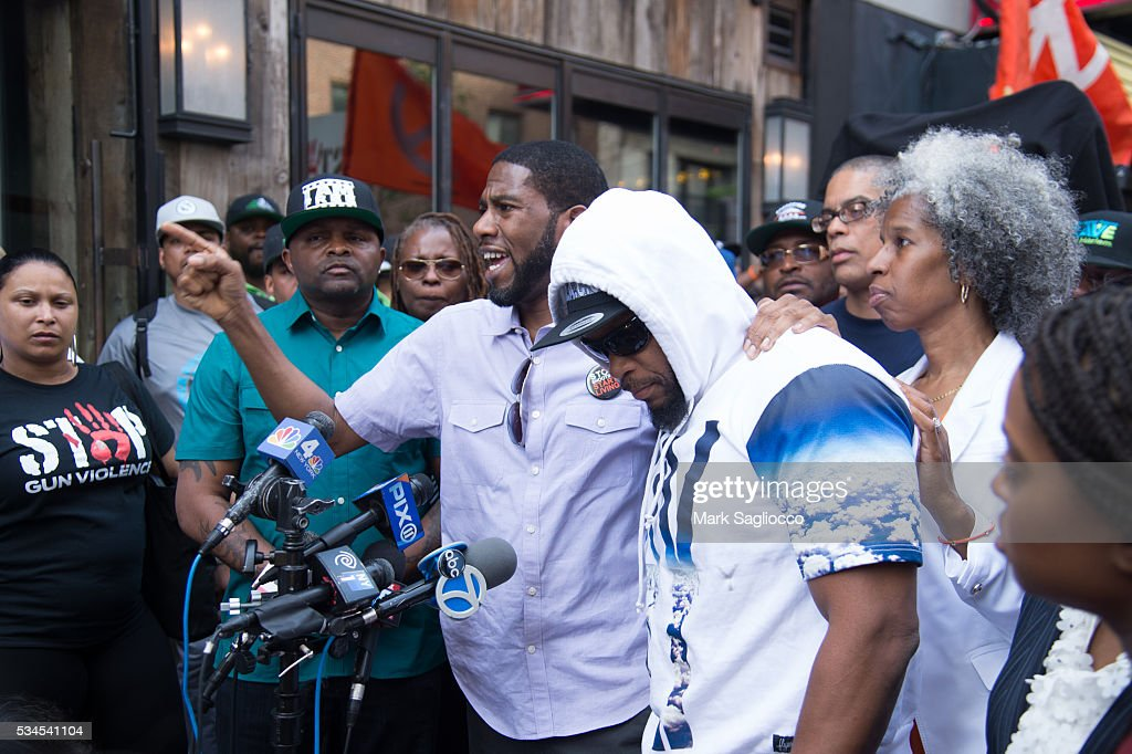ManUp! Founder Andre T. Mitchell; New York City Council Member Jumaane Williams; Shanduke McPhatter, brother of victim; and Erica Ford attend the National Anti-Violence Community Press Conference at Irving Plaza on May 26, 2016 in New York City.