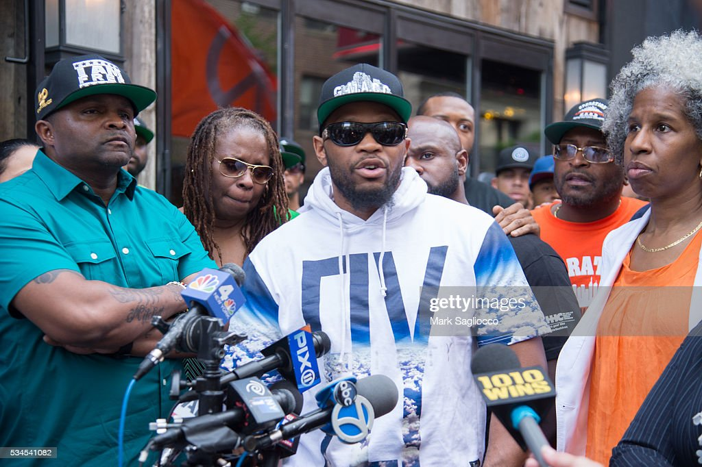 ManUP! Founder Andre T. Mitchell; Shanduke McPhatter, brother of victim Ronald McPhatter; and LifeCamp CEO Erica Ford attend the National Anti-Violence Community Press Conference at Irving Plaza on May 26, 2016 in New York City.